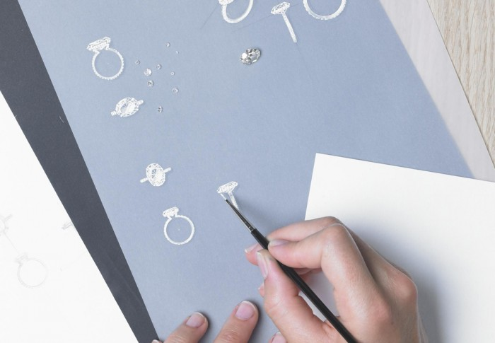 Painting-in-the-details-of-your-Galeries-du-Diamant-Bespoke-Diamond-ring-design