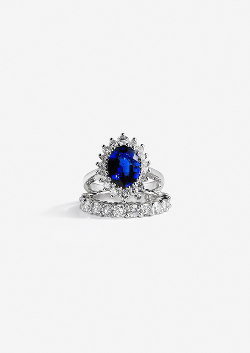 White gold diamond 4 carat sapphire ring galeries du diamant